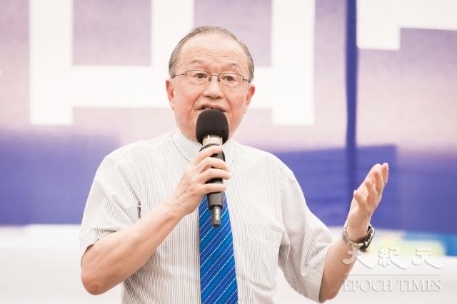 台灣法輪大法學會22日舉辦全球聲援三億人退出中共黨、團、隊暨紀念「4.25」中國法輪功學員和平上訪19週年活動。圖為台灣投資中國受害者協會理事長高為邦發言。