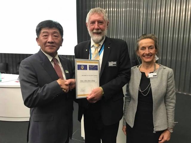 陳時中獲頒「世界公共衛生協會聯盟( WFPHA)」頒發「公共衛生全球憲章大使」。