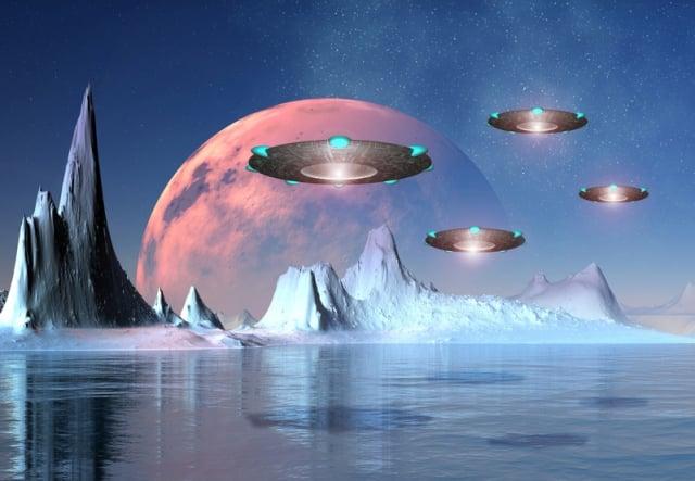 至今為止,科學家在地球上已找到眾多證據,不僅記錄外星人在地球居住過,也記錄人類文明被毀滅。圖為UFO構想圖。(Fotolia)