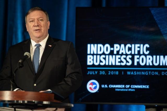 美國國務卿蓬佩奧週一(30日)宣布一系列亞洲投資舉措,聚焦於數位經濟、能源和基礎建設。(NICHOLAS KAMM / AFP)