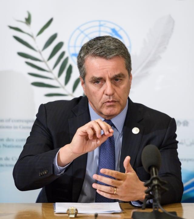 WTO祕書長阿茲維多(Roberto Azevêdo)接受外媒專訪時表示,願意與美國展開對話,推動組織改革。圖為資料照。(Fabrice COFFRINI / AFP)