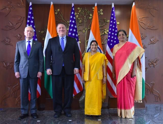 美印2+2 dialogue在印度登場。(印度外交部推特截圖)