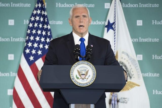 美國副總統彭斯說,美國人針對中共統治中國的現狀有了清醒的認識,「當我們聚集在這裡時,美國各地的共識正在上升。」(Jim WATSON / AFP)