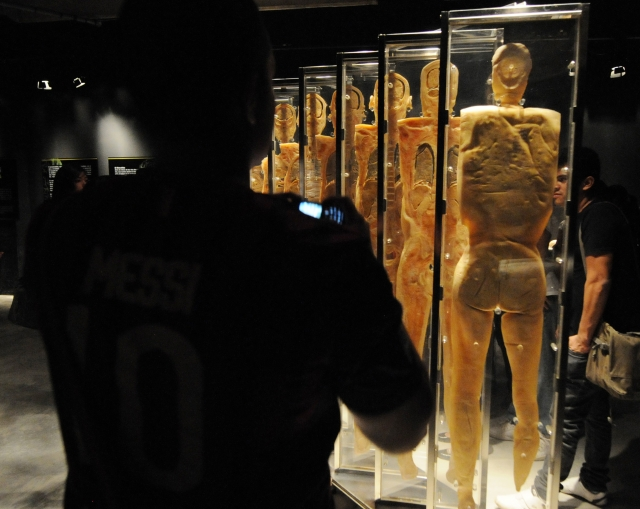 過去曾在台灣展出的人體展覽「Real Human Bodies」,近期遭到瑞士洛桑市封殺。(AFP)