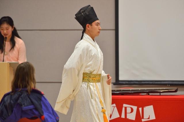 2018年9月25日,王志遠在溫哥華圖書館的漢服展示會上。(記者大宇/攝影)