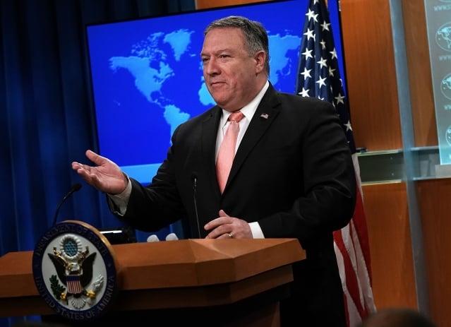 美國國務卿蓬佩奧警告中共,在商業上行為要表現得像一個正常的國家,並尊重《國際法》。(Alex Wong/Getty Images)