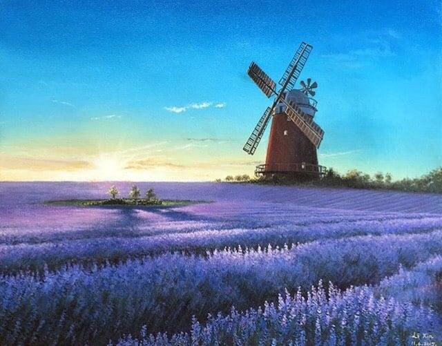 2015年,李鑫11年級時的獲獎作品:「薰衣草田Lavender Field」。(李鑫提供)