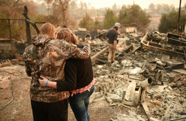 11月8日,加利福尼亞州的天堂鎮(Paradise)成為加州野火肆虐的重災區。(JOSH EDELSON/AFP/Getty Images)