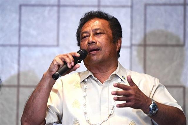 來台訪問的帛琉總統雷蒙傑索。(中央社)
