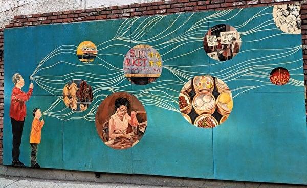 黃曉琳和她的團隊在舊時信大廈懸掛的壁畫,題為「千線連接(Tied Together by A Thousand Threads)」。(記者劉景燁/攝影)