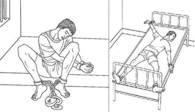 左:長時間的「穿針」酷刑會使人肌肉勞損、手腳浮腫、失眠煩躁、精神異常。右:「燕飛」酷刑更使人大小便無法自理,並發生嚴重的肌肉損傷、疥瘡濕疹等。(取自明慧網)