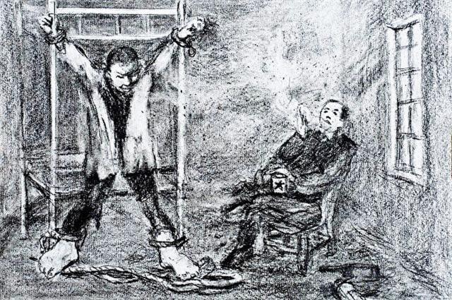 馬三家勞教所酷刑:上大掛。(作者提供)