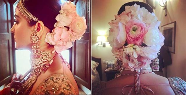 喬爾吉歐為寶萊塢女星艾魯絲卡·沙瑪(Anushka Sharma)打造的新娘髮型。(加布利埃爾·喬爾吉歐提供)