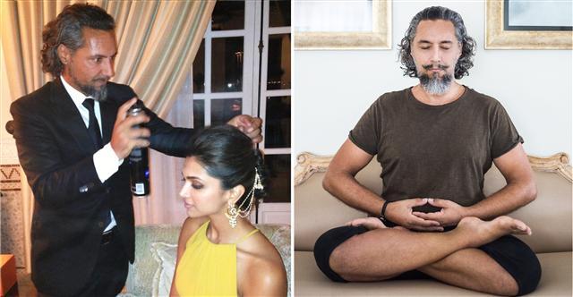 左:作為著名髮型師的喬爾吉歐為寶萊塢影星迪皮卡‧帕度柯妮打理頭髮。右:喬爾吉歐在家中打坐。(加布利埃爾·喬爾吉歐提供)