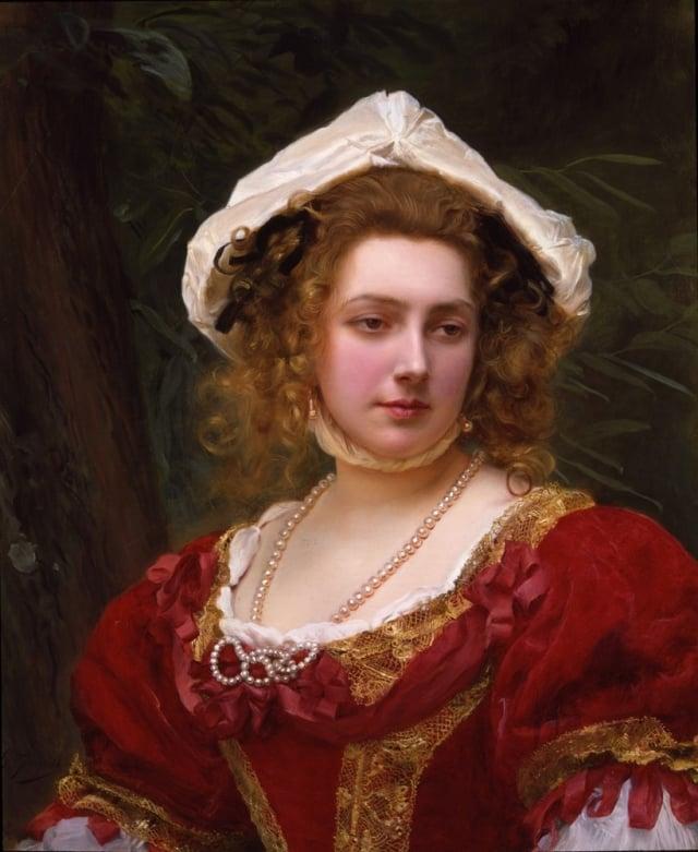 居斯塔夫·讓·雅凱,《紅衣少女》(Young Girl with Red Dress),118 x 76 cm,布面油畫。(藝術復興中心提供)