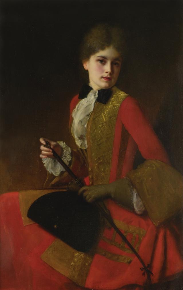 居斯塔夫·讓·雅凱,《身著騎馬裝的女孩》(Girl in a Red Riding Habit),118 x 76 cm,布面油畫。(藝術復興中心提供)