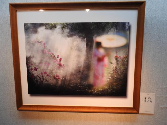 在「花語寄情攝影聯展」中,展出黃天成教授的作品《賞花》。(記者蔡上海/攝影)