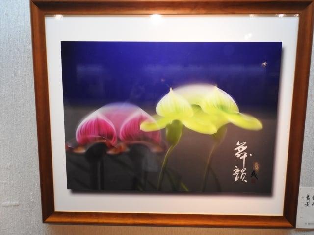 在「花語寄情攝影聯展」中,展出黃天成教授的作品《舞韻》。(記者蔡上海/攝影)