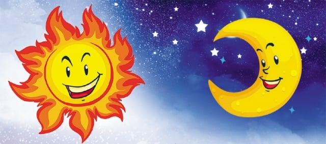 小朋友們手把手,太陽牽著月亮走。 一路輝煌一路秀,飛向未來摘星斗。(大紀元合成圖)