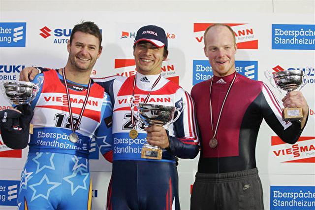 2005年11月6日,魯貝尼斯獲得世界盃無舵雪橇比賽銅牌。(Ilmars ZnotinsAFP/Getty Images)