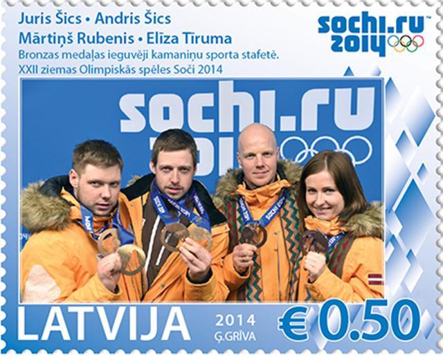 2014年索契冬奧會,魯貝尼斯與隊友獲得了團體接力比賽的銅牌。拉脫維亞政府特別出版了一枚紀念郵票。(馬汀斯‧魯貝尼斯提供)