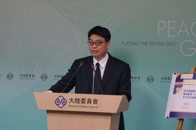 陸委會發言人邱垂正17日表示,台灣反對思想審查,堅決捍衛出版與言論自由。(記者李怡欣/攝影)