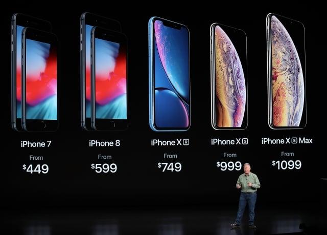 iPhone XR、XS、XS Max。(Justin Sullivan/Getty Images)