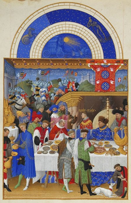《貝里公爵的豪華時禱書》(或譯《貝里公爵豪華日課經》)之一月,為林堡兄弟(Paul and Jeande Limbourg)為勃艮地公爵所繪製。(維基百科)
