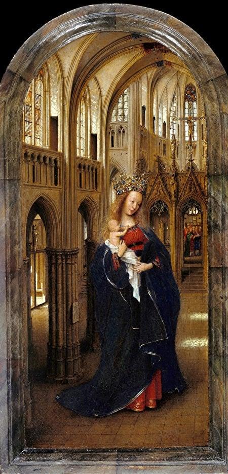 揚‧范‧艾克,《教堂裏的聖母》(Madonna in the Church)局部,1430年, Staatliche Museen, Berlin- Dahlem。(維基百科)