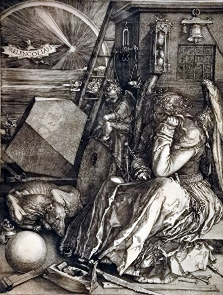 Melancholia愁緒, 杜勒的銅版畫。(藝談提供)