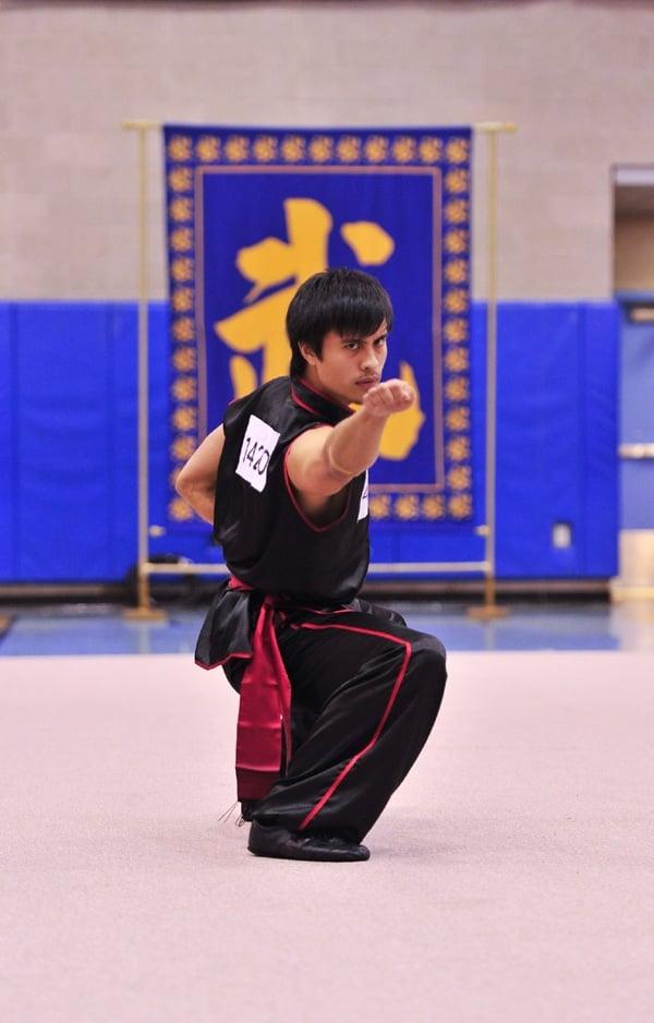 第三屆南方拳術組銅獎得主,來自舊金山的Andrew Lengyel,演示蔡李佛豹拳。(攝影/曾介宏、新唐人電視台提供)