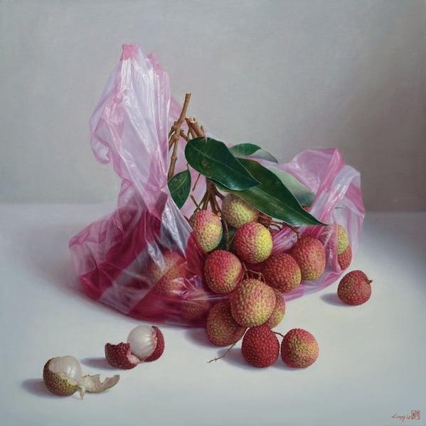 梁晉嘉,《玉荷包》,106×106cm,2014年,油彩、畫布。(奇美博物館提供)