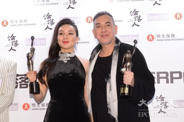 港星黃秋生(右)和中國女星曾美慧孜(左)拿下金像獎影帝、影后。(記者宋碧龍/攝影)