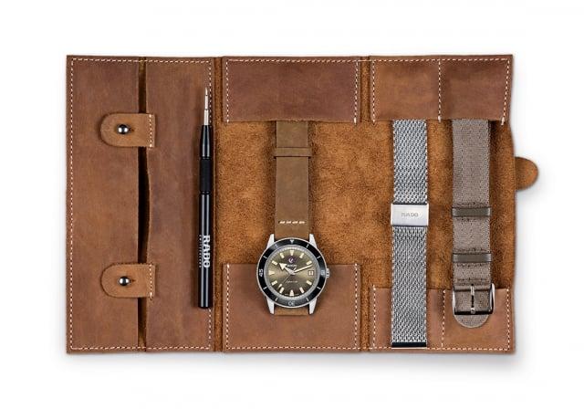 皮革錶帶、米蘭式織網鍊帶與現代軍風的綠色NATO帶套組。