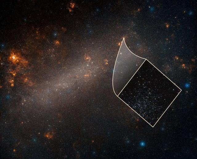 美國天文學家利用哈伯太空望遠鏡所量測的資料證實,宇宙的膨脹速度比先前預期的快了9%。圖為地面望遠鏡所拍攝的大麥哲倫星系圖片,再嵌入哈伯太空望遠鏡所拍攝的眾多恆星圖片,其中包括造父變星。(NASA)