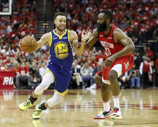 哈登(右)。(Getty Images)