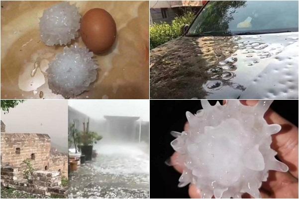 近日,北京、河北出現極端異常天氣,部分縣市降下大暴雨和雞蛋大小的冰雹。(大紀元合成圖片)