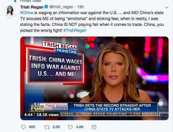 美中貿易戰升級,福斯財經網女主播雷根(Trish Regan)意外成為中共攻擊的目標。(雷根推特)