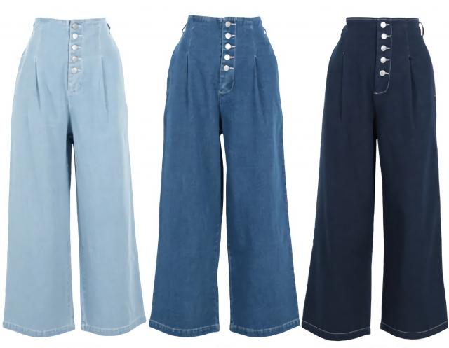 高腰牛仔寬襬褲。