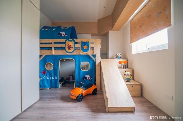 小男生們最愛的車子帶進兒童房間的裝潢裡,讓房間充滿趣味性。