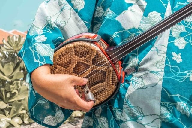 體驗沖繩傳統樂器三線琴。(業者提供)