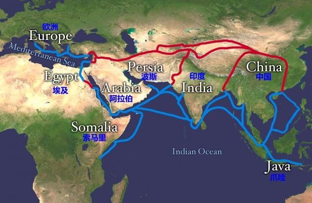 紅色路線為陸上絲綢之路;藍色路線為海上絲綢之路。(維基百科)