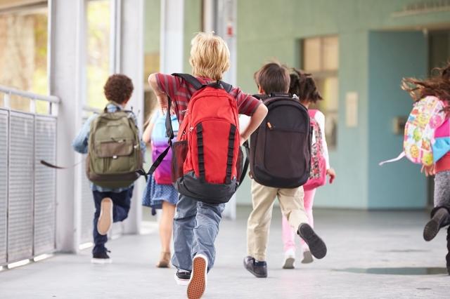 研究數據顯示:背包不應超過兒童體重的10%;滾輪書包也不應超過體重的20%。(Shutterstock)