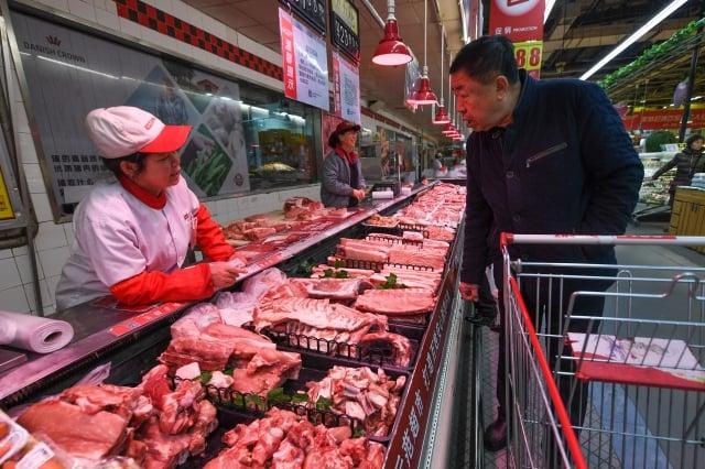 中國豬肉價格受非洲豬瘟影響連連攀升。(中央社)