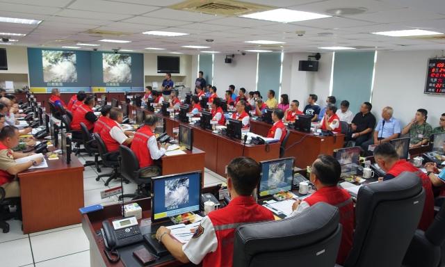 金門縣政府災害應變中心24日上午10時一級開設,22單位進駐。