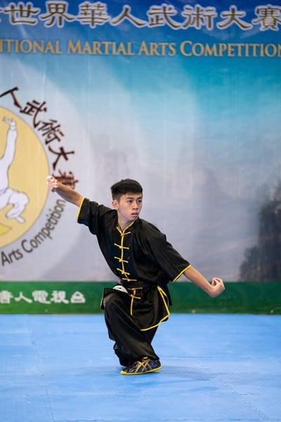 少年拳術組選手莊宗廷表演查拳門六路查拳,獲得金獎。(記者戴兵/攝影)
