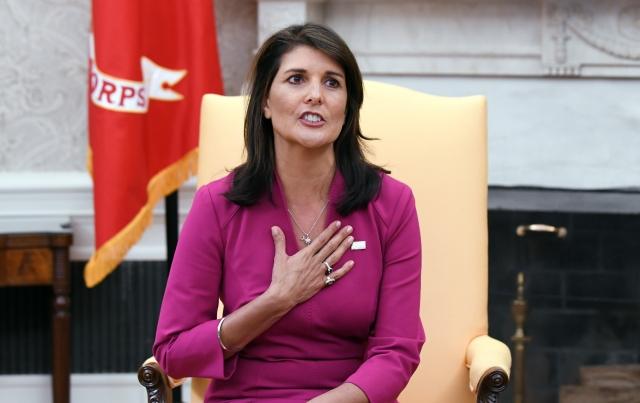 美國前駐聯合國大使海利(Nikki Haley)投書福斯新聞網(Fox News)指出,香港局勢牽動全球,如任由中共鎮壓香港,下一個目標就是台灣。(Olivier Douliery / AFP)
