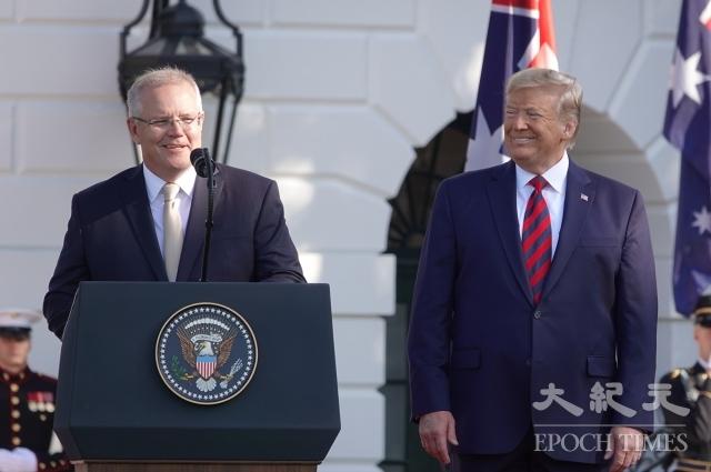 澳洲總理莫里森(左)支持川普(右)促中共做出改革,他強調,中共要按照規則行事,美中若達成協議,對全球貿易都有益。(記者亦平/攝影)