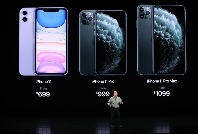 iPhone 11系列的三款新手機。(Justin Sullivan/Getty Images)