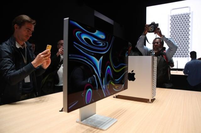 蘋果在2019年6月3日於加州聖荷西全球開發者大會(WWDC)上展出新款Mac Pro桌上電腦。(Justin Sullivan/Getty Images)